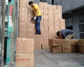 曹县老客户26个立方活性炭发货